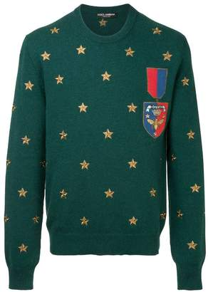 Dolce & Gabbana patch embroidered sweater
