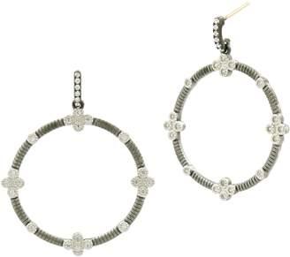 Freida Rothman Four-Clover Point Frontal Hoop Earrings
