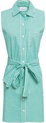 Current/Elliott Belted Striped Cotton-poplin Mini Shirt Dress