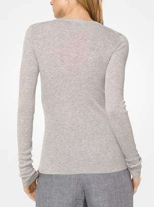 Michael Kors Ribbed Viscose and Linen Pullover