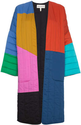 Multicoloured reversible temple coat