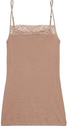 Hanro Woman Lace-trimmed Cotton-jersey Camisole Antique Rose Size L