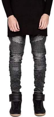 haisealing4 Trendy Designed Straight Pants Casual Men Jeans Slim Elastic Denim Trousers