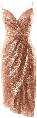 MACloth Women Sequin V Neck Wedding Party Formal Gown Midi Bridesmaid Dress