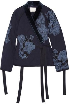 3.1 Phillip Lim - Floral-appliquéd Velvet-trimmed Cotton Jacket - Midnight blue $795 thestylecure.com