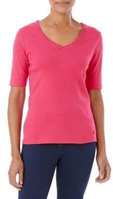 Olsen Short Sleeve Fitted V-neck Tee