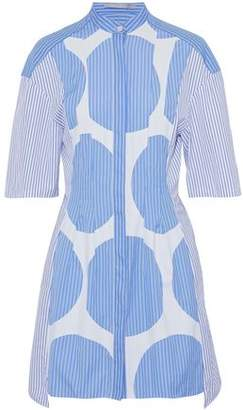 Stella McCartney Asymmetric Appliquéd Striped Cotton-Poplin Mini Shirt Dress