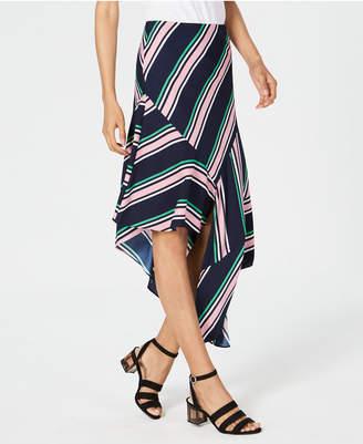 Bar III Striped Asymmetrical Skirt
