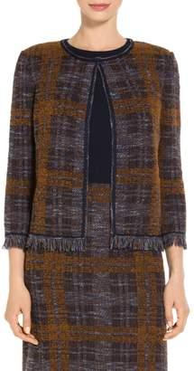 St. John Plaid Boucle Jacquard Knit Jacket