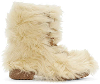 Saint Laurent Beige Furry Boots