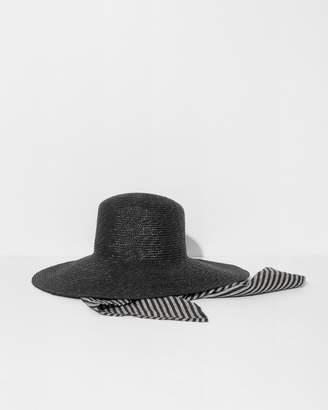 CLYDE Black Wide Brim Flat Top Hat w/ Scarf