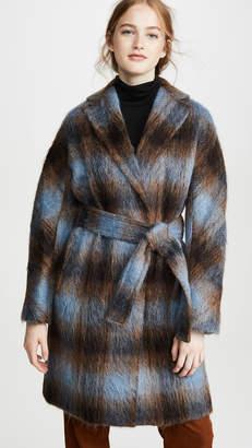 Vince Belted Plaid Coat