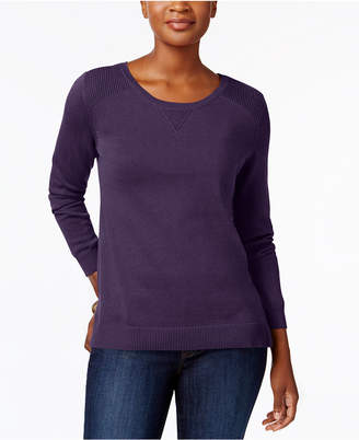 Karen Scott Side-Slit Cotton Sweater