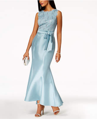 R & M Richards Sequined-Lace-Top Mermaid Gown