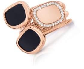 Roberto Coin Black Jade, 0.12 TCW Diamond and 18K Rose Gold Ring