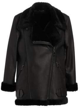 The Fur Salon Shearling Lamb& Nappa Leather Moto Jacket