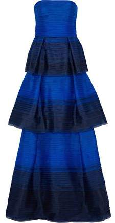 Strapless Tiered Dégradé Silk-Organza Gown