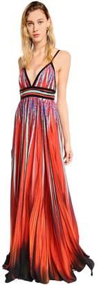 Elie Saab Printed Crepe Georgette Long Dress