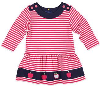 Florence Eiseman Striped Interlock Knit Apple Dress, Size 2-4