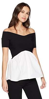 Nicole Miller New York Women's V Neck Detail Sweater Blouse