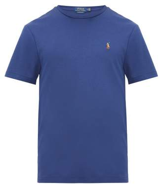 Polo Ralph Lauren Polo Embroidered Cotton Jersey T Shirt - Mens - Blue