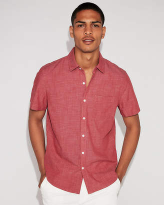 Express Classic Solid End On End Short Sleeve Shirt