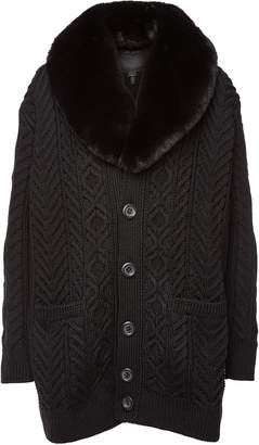 Marc Jacobs Wool Cardigan with Faux Fur