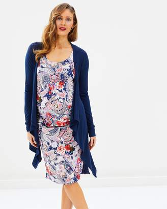 Angel Maternity Maternity Reversible Dress & Waterfall Cardigan Outfit