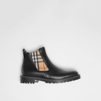 Burberry Vintage Check Detail Leather Chelsea Boots , Size: 39, Black