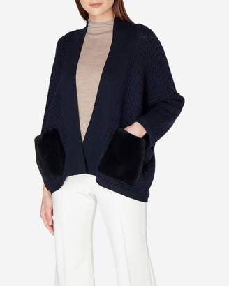 N.Peal Fur Pocket Basketweave Cashmere Cardigan