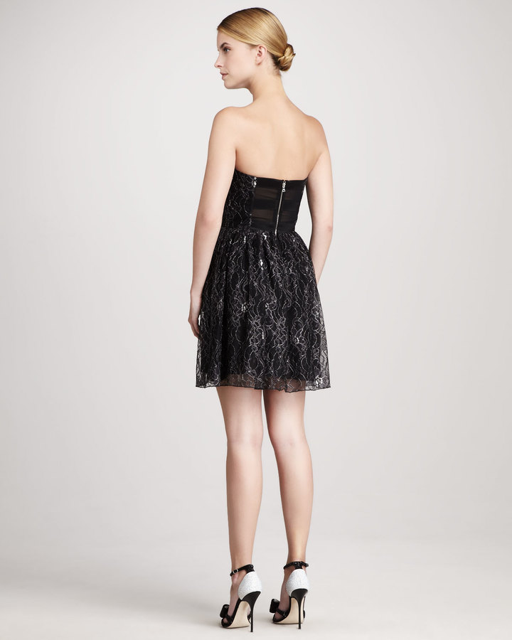 Pamella Roland Shirred Fit-and-Flare Dress