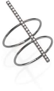 Diane Kordas Diamond & Blackened 18K Gold Bar Double-Band Ring