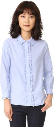 ENGLISH FACTORY Ruffle Button Down Shirt $65 thestylecure.com