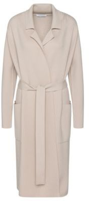 Hugo Boss Fasilena Wool Belted Sweater Cardigan S Beige $545 thestylecure.com