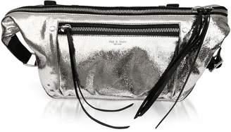 Rag & Bone Silver Crackle Leather Large Elliot Fanny Pack / Belt Bag