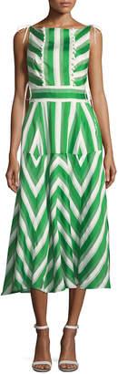Lela Rose High-Neck Sleeveless Organza Striped Jacquard Long Dress