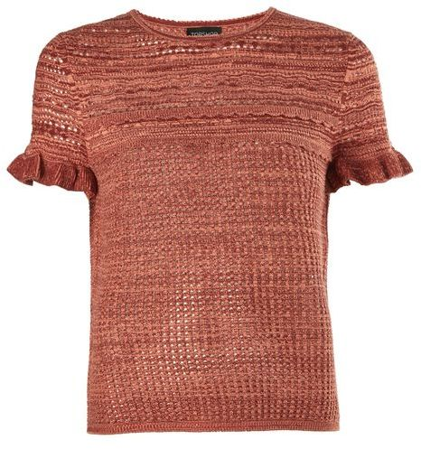 TopshopTopshop Stitchy crochet ruffle t-shirt