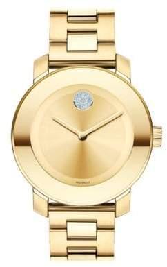 Movado Bold Crystal& Goldtone Stainless Steel Bracelet Watch