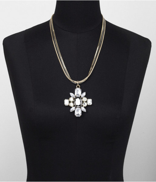 Express Two-Tone Chain Multi Stone Flower Pendant