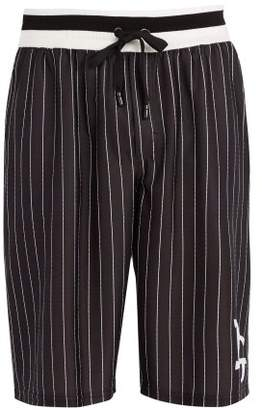 Dolce & Gabbana Long Logo Pinstripe Board Shorts - Mens - Black