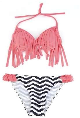 Flaros Sexy Women Bandage Pushing-up Bikini Set Padded Bra Fringed Swimsuit M