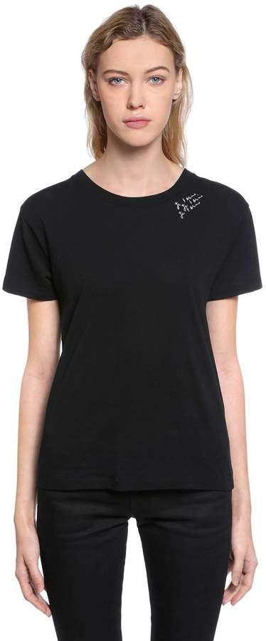 Saint Laurent Je T'aime Printed Cotton Jersey T-Shirt