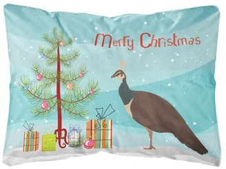 Caroline's Treasures Indian Peahen Peafowl Christmas Canvas Fabric Decorative Pillow