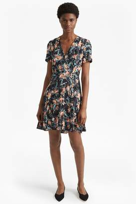 French Connection Delphine Crepe Mix V Neck Dress