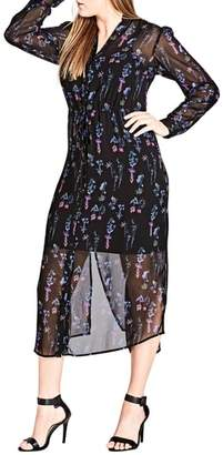City Chic Wild Flower Midi Shirtdress