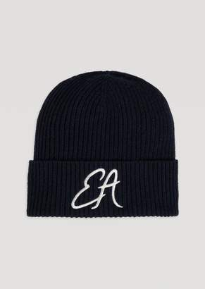 Emporio Armani Ribbed Knit Hat With Embroidered Ea Logo