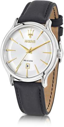 Epoca Maserati White Dial and Black Leather Strap Men's Watch