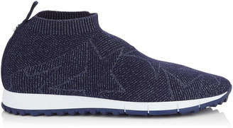 Jimmy Choo NORWAY/M Navy Knit and Lurex Trainers
