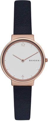 Skagen Women's Ancher Black Leather Strap Watch 30mm SKW2608 $155 thestylecure.com