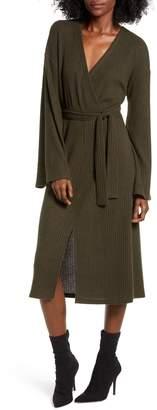 ALL IN FAVOR Side Tie Rib Knit Midi Dress